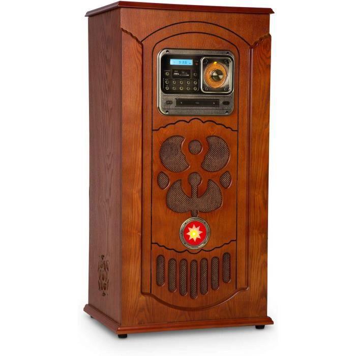 AUNA Musicbox Jukebox - Platine Vinyle, Lecteur CD, Radio FM, Port USB, Lecteur de Cartes SD, Bluetooth, Compatible MP3, Rangement v