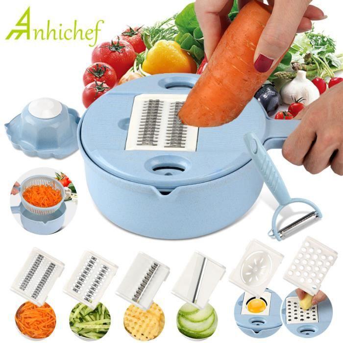 Hachoir manuel,Accessoire de cuisine 8 en 1, pour éplucher les pommes de terre, râpe légumes, Mandoline, râpe à carottes et à