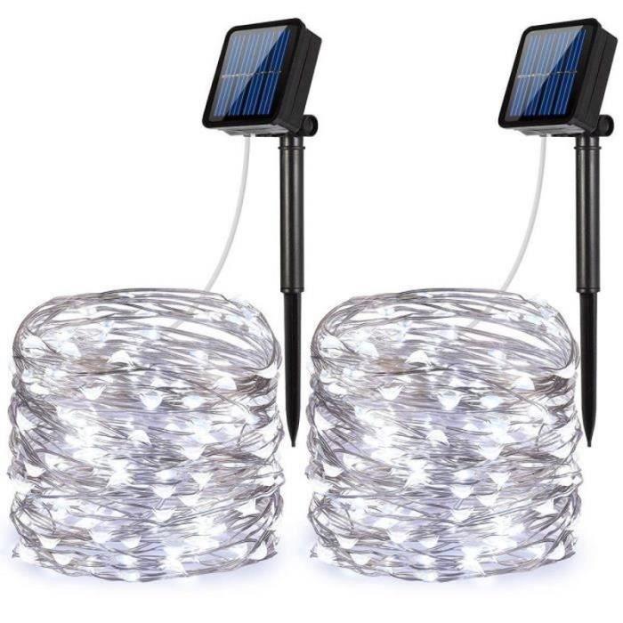 2 packs de guirlandes solaires blanches, (100 DEL, 2 modes), guirlandes étoilées, guirlandes en fil de cuivre de 33 pi - 10 m, lumiè