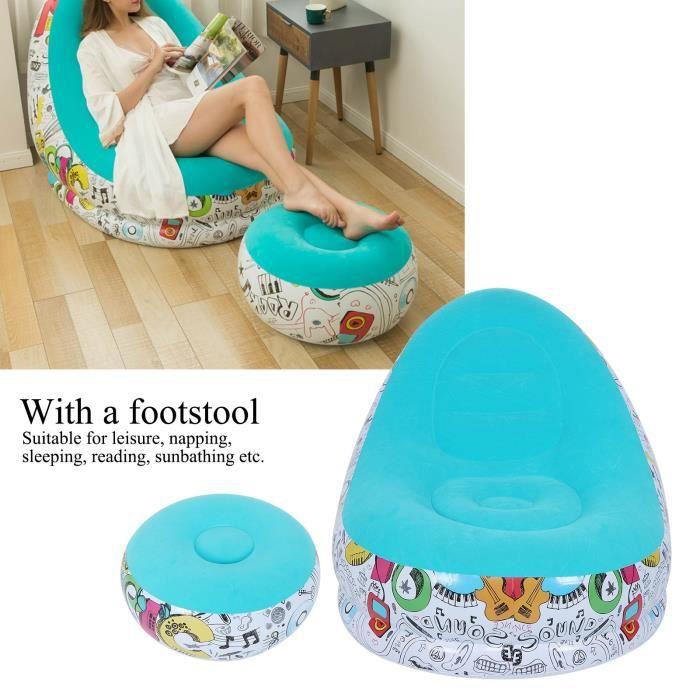 Canapé Gonflable Portable Chaise Longue Confortable avec Tabouret pour Salon (Bleu 116x98x83cm)
