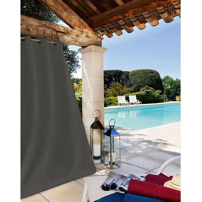 Rideau Extérieur Tissu Outdoor Gris Foncé 135 x 240 cm