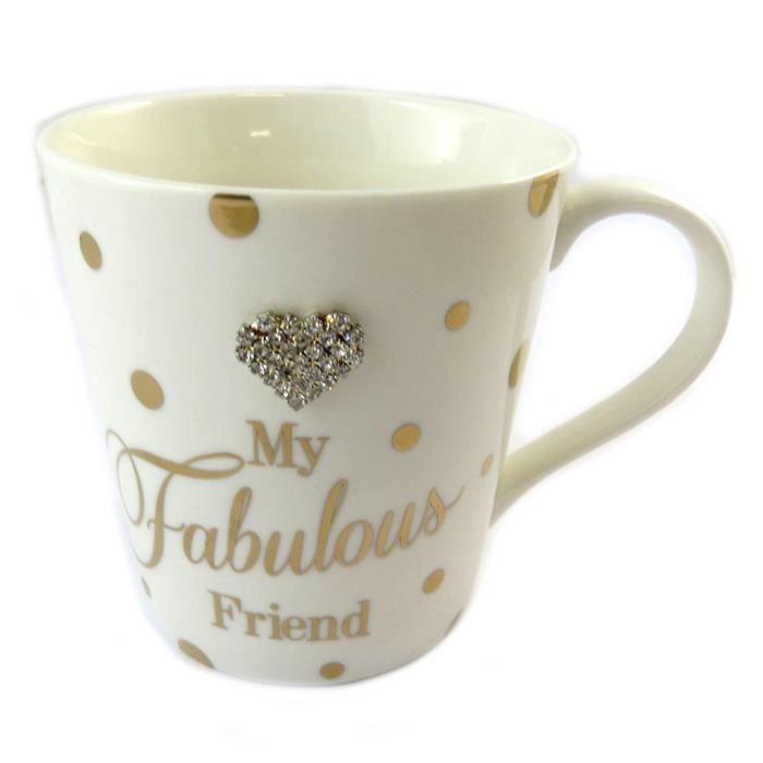 Mug porcelaine 'My Fabulous Friend' beige doré... [P1096]