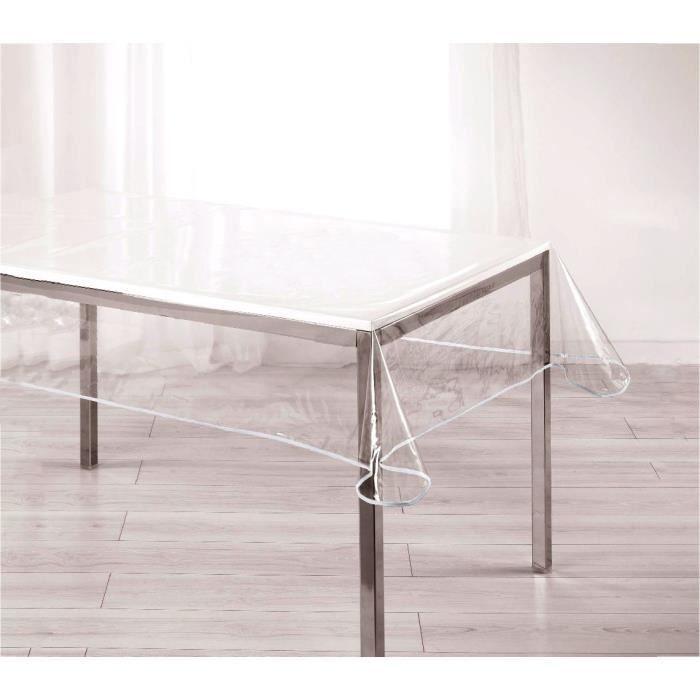 302972 Nappe rectangulaire toile cirée PVC 140x180 cm imperméable transparente