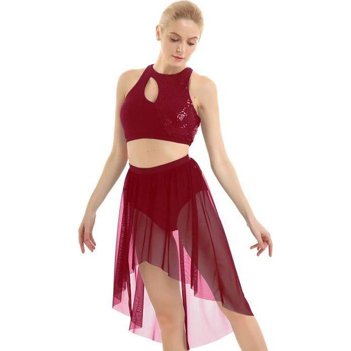 2pcs Femme Robe Danse Latine Classique Paillette Asymétrique Justaucorps Gymnastique Robe Patinage Tenue Danse Contemporaine XS-XL