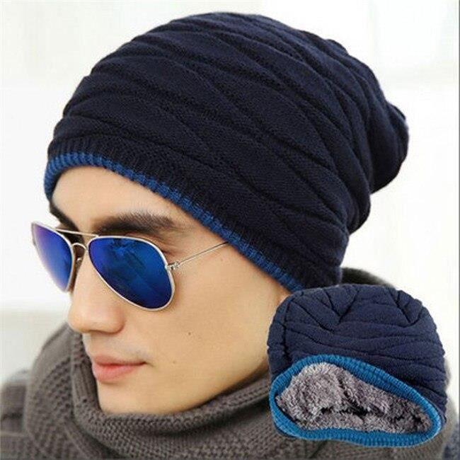CASQUETTE,Bonnet unisexe hiver Outdooor casquette de course hommes femmes bas chapeau rayure tricoté Hiphop chapeau - Type navy