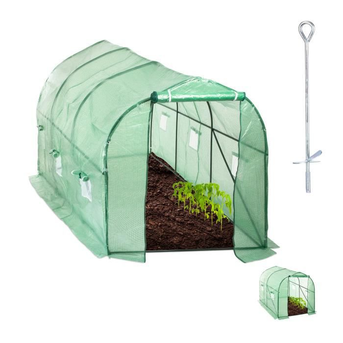 Relaxdays Serre de jardin Tunnel de jardin bâche housse porte fenêtre jardin tente plante tomate, vert - 4052025931964