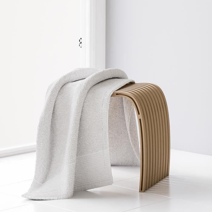 Siège de douche ergonomique de salle de bains avec pieds antidérapants et lattes incurvées, bambou, Schulte, 46 x 40 x 30 cm