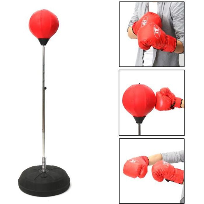 Punching Ball Sur Pied Hauteur Réglable Sac De Frappe Avec Gants Pour Adultes