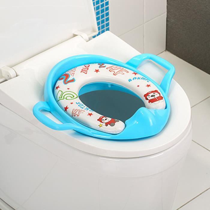 Bébé Réducteur De Toilette WC Siège Avec Coussin Poignée Dossier BLEU