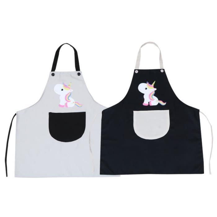 2 pièces tabliers étanche à l'huile Polyester licorne imperméable Simple pliables pour hommes Chef cuisine femmes COOKING APRON