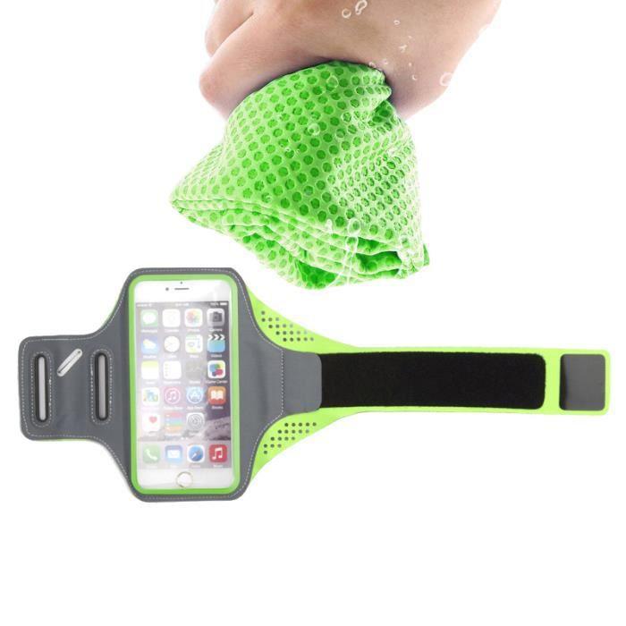 Tritina Sport Armband pour iphone 6 / 6s 4.7inch Compatible Smartphone avec une serviette de sport (Vert)