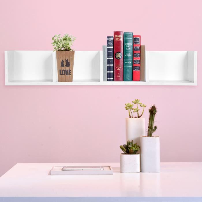 4 grille Rangement de mur moderne montrer affichage étagère CD/DVD  organisateur rack en bois (blanc)