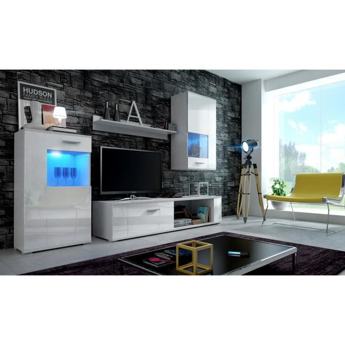 Meuble de salon meuble tv complet fox blanc mat fa ades blanches laqu es - Meuble salon complet ...