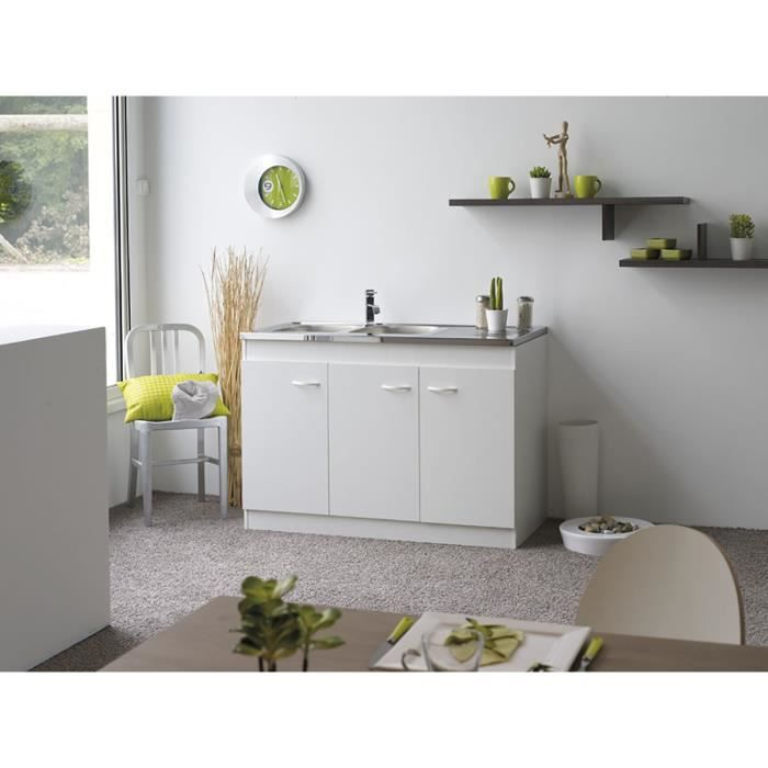 billa sous evier 3 portes 120cm blanc achat vente. Black Bedroom Furniture Sets. Home Design Ideas