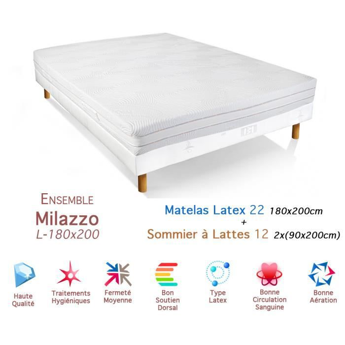 ensemble milazzo matelas latex sommier 22 12 180x200cm. Black Bedroom Furniture Sets. Home Design Ideas