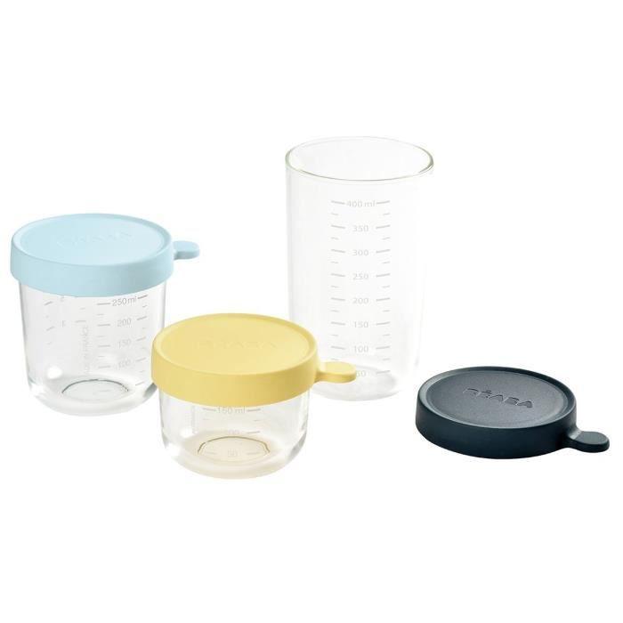 CONSERVATION REPAS BEABA Coffret de 3 portions verre 150ml, 250 ml, 4