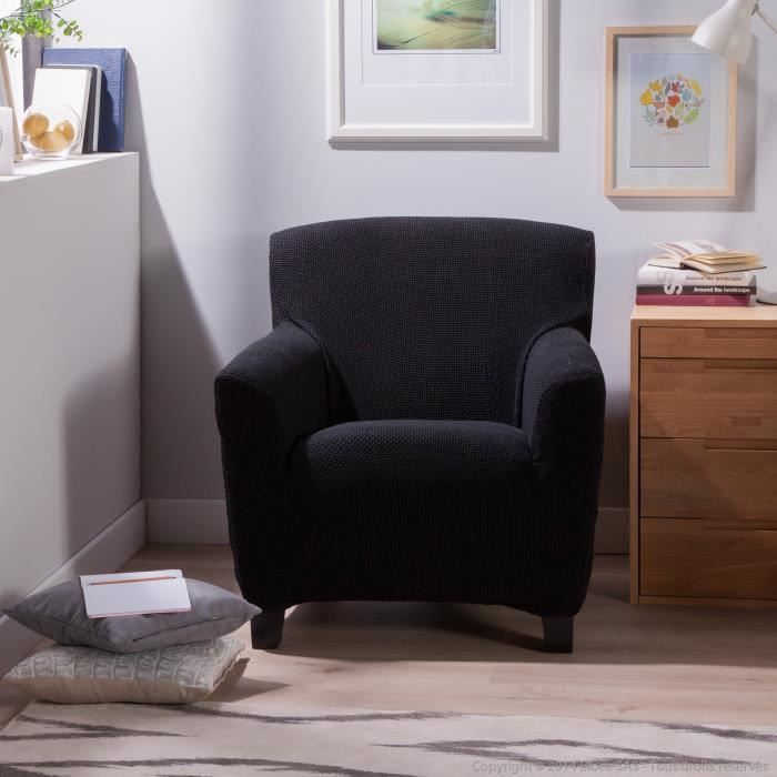 housse fauteuil 1 place bi extensible lisa noir achat. Black Bedroom Furniture Sets. Home Design Ideas