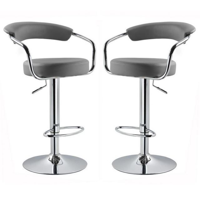 tabouret de bar gris x 2 retro coiffeur. Black Bedroom Furniture Sets. Home Design Ideas