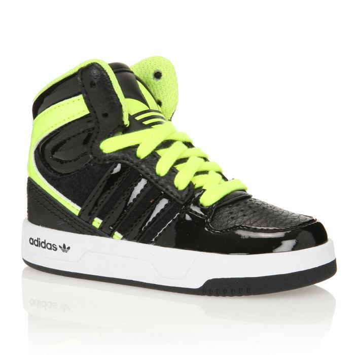 adidas baskets court attitude b b gar on noir jaune fluo achat vente basket cadeaux de. Black Bedroom Furniture Sets. Home Design Ideas