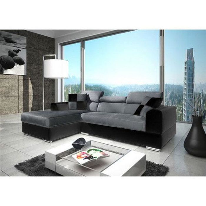 canap angle neto microfibre gris simili cuir noir achat vente canap sofa divan cdiscount. Black Bedroom Furniture Sets. Home Design Ideas