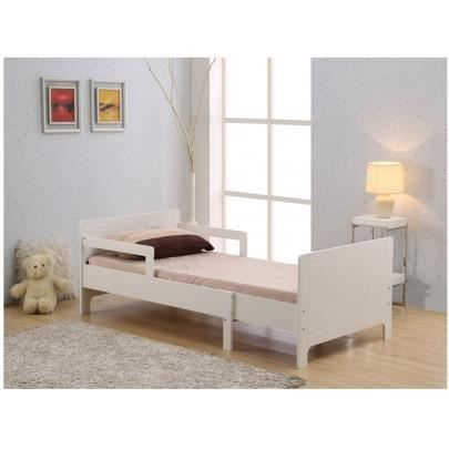 lit volutif nicolas 90x140 200cm mdf blanc achat. Black Bedroom Furniture Sets. Home Design Ideas