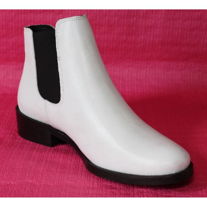 BOTTINES BASSES FEMME ZIGN CUIR BLANC T 40 NEUVES