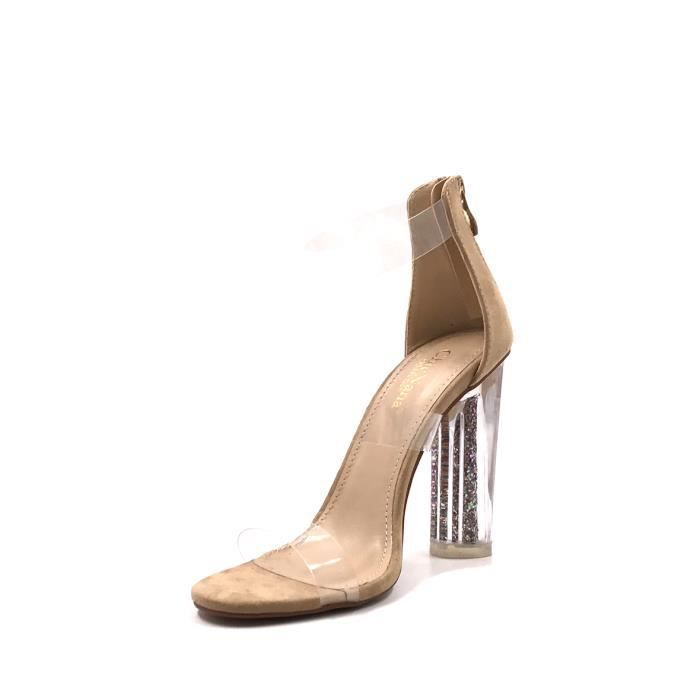 CHIC NANA . Chaussure Femme Mode Bottine à talon transparent en couleur Beige 38.