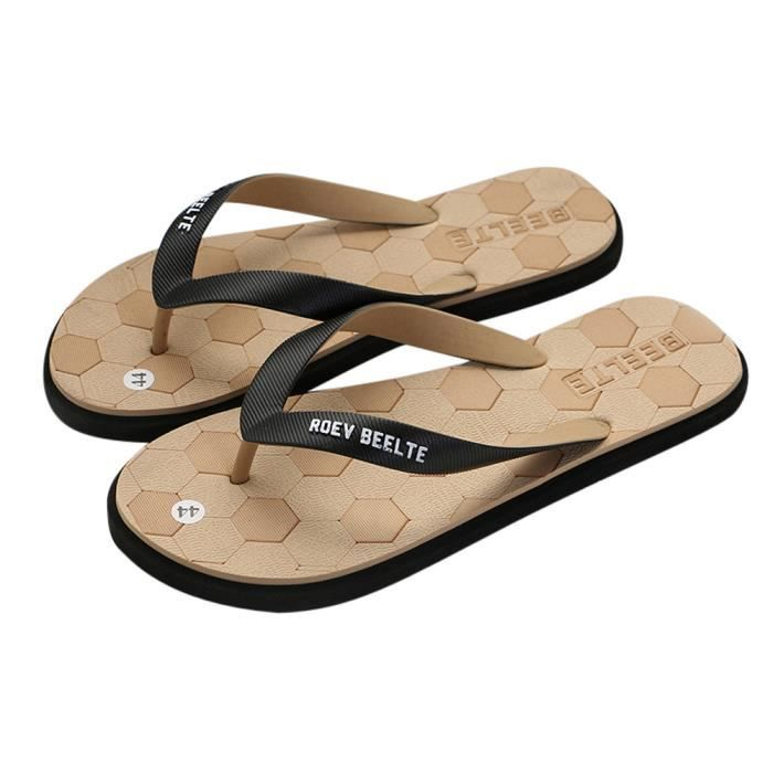 Heel Beach 3417 Round Slipper Shoes Flat Outdoors Fashion Marron Toe Flip Men xe Flops POikXZu