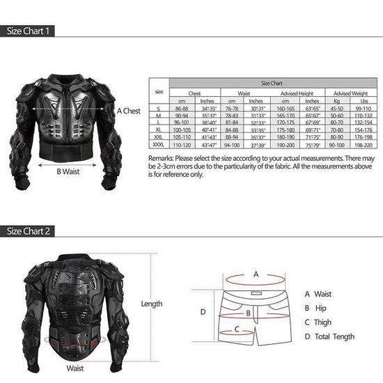 Veste Armure Moto Blouson Motard Gilet Protection /Équipement de Moto Cross Scooter VTT Enduro Homme ou Femme Rouge XL