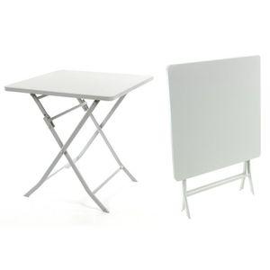 TABLE DE JARDIN  Table carrée GREENSBORO pliante 70 x 70 cm galet H