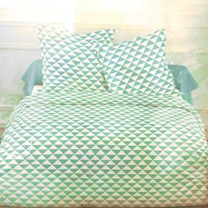 PARURE DE DRAP Parure de draps 4 pièces triangle vert 2 personnes