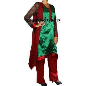 ROBE Robe indienne deguisement rouge et vert salwar kam