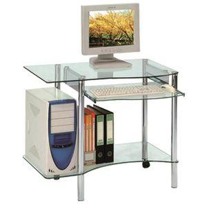 BUREAU  Bureau informatique en verre avec tablette couliss