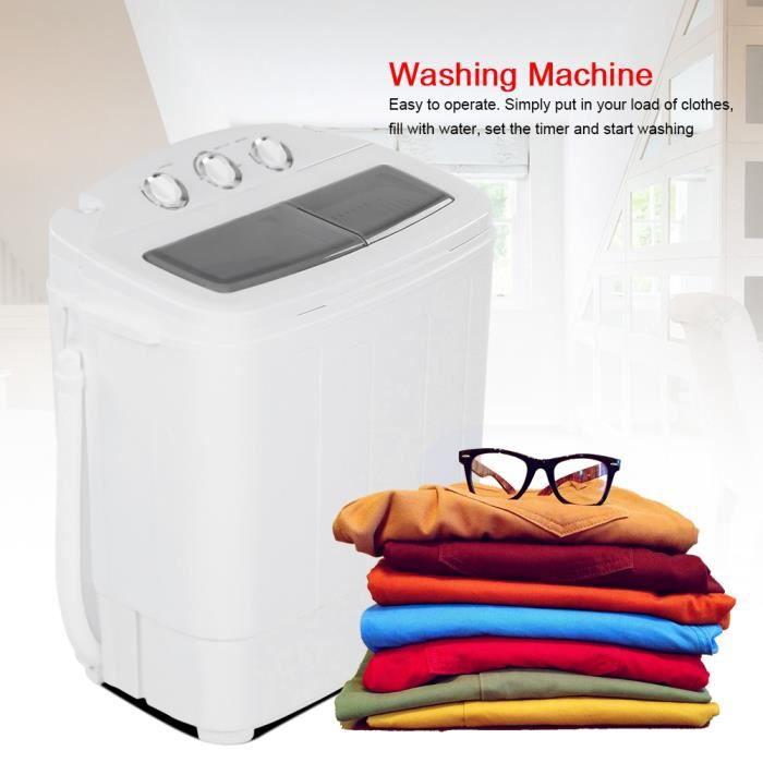 Lave-linge à 2 bacs de 11 lb lavage+ 7.7 lb essorage Machine à laver Efficace Contr?lé écologique durable