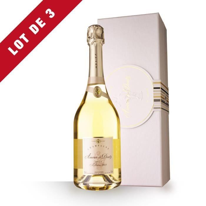 Lot de 3 - Amour de Deutz Blanc de Blancs 2009 Brut - Coffret - 3x75cl - Champagne
