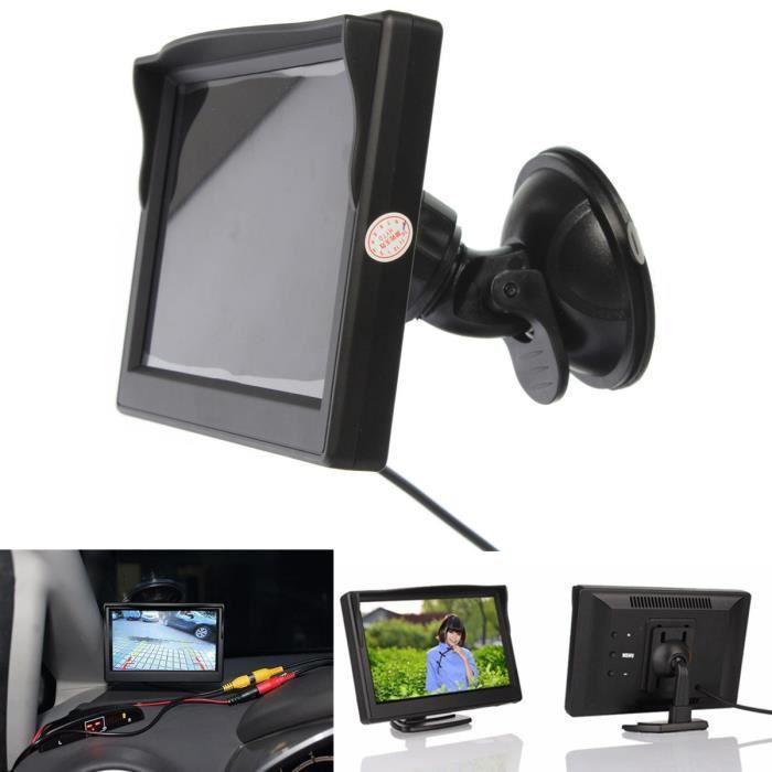 TEMPSA 5'' Écran LCD 480x272 Digital Moniteur Voiture + Support Rotule Ventouse à DVD Caméra de Recul Vue Arrière