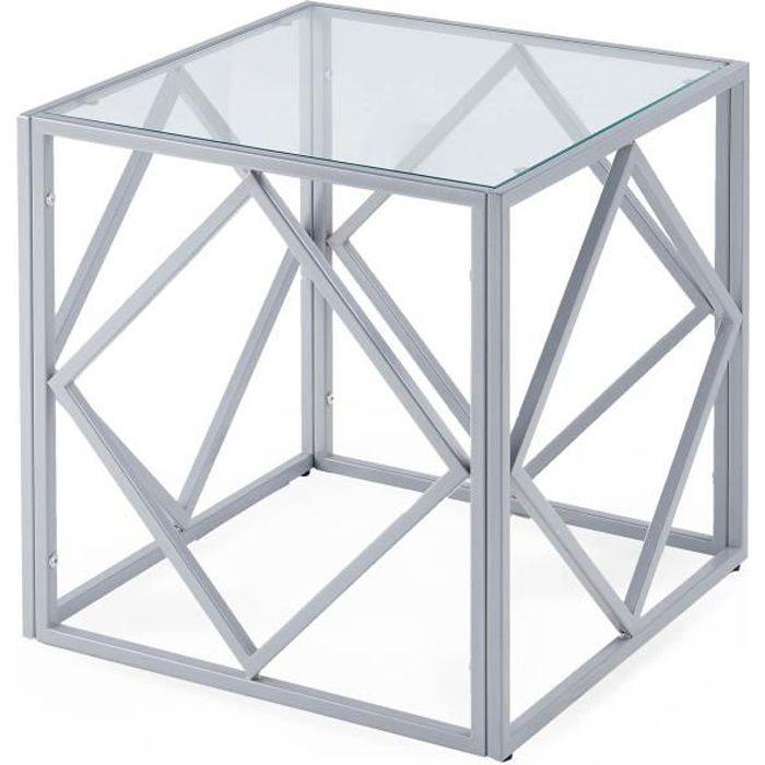 Table basse design en verre et métal carrée ELIO