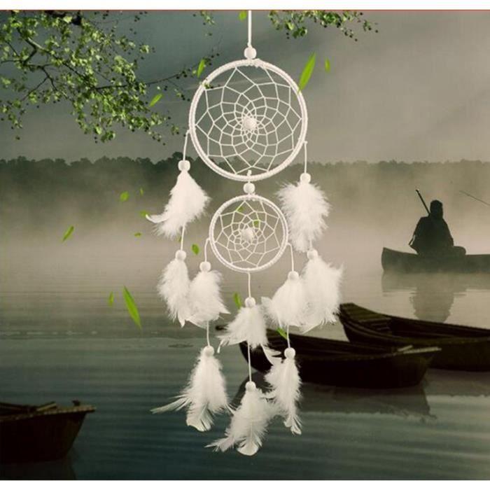 Attrape Rêve - Traditionnel - 2 Cercles - Blanc