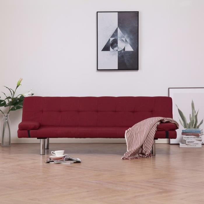 AVCPOD® Canapé-lit Canapé d'angle convertible réversible salon avec deux oreillers Rouge bordeaux Polyester YEAZYD