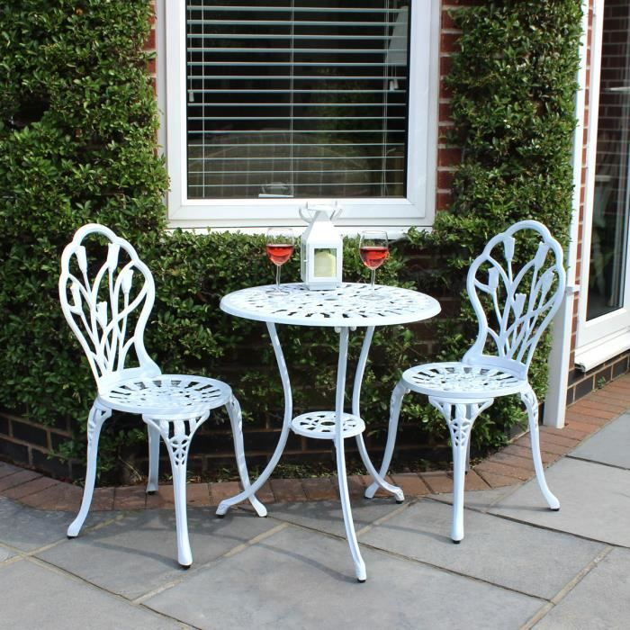 Lot de 2 chaises, 1 table tulipes - jardin style bistro - alu moulé - blanc
