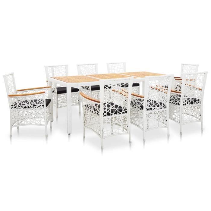 Ensemble à dîner d'extérieur design élégant 1 x table+8 x chaises 9 pcs Résine tressée Blanc