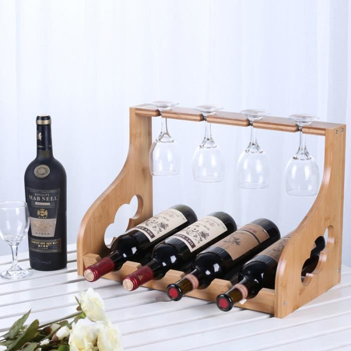 Casier à vin, Porte-gobelets Combo, Peut contenir 4 Bouteilles de vin Rouge, Convient à la Cave à vin, fête, Rencontres, Collection