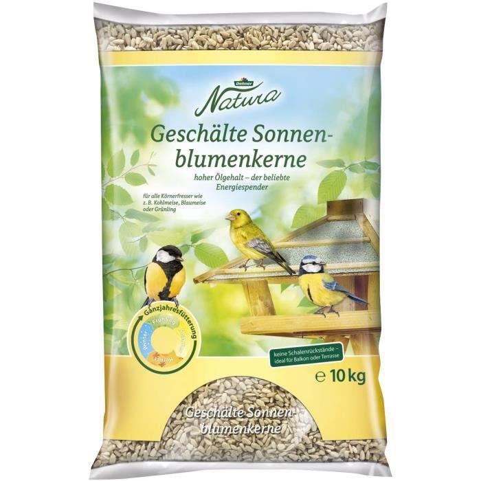 Nourriture pour oiseaux Dehner Natura Sac de graines de Tournesol décortiquées 10 kg 127692