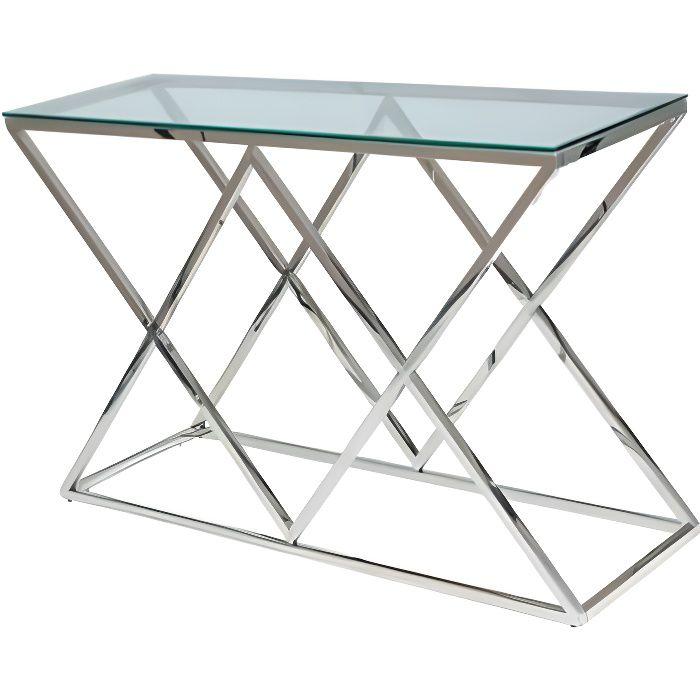 ZEGNI - Console moderne style glamour salon/chambre/bureau - 78x120x40 cm - Verre trempé + acier - Table haute - Argent