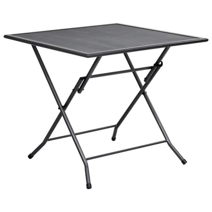 Table de jardin Mobilier de jardin - Table pliable en maille Table de camping moderne 80x80x72 cm Acier Anthracite Super��3682