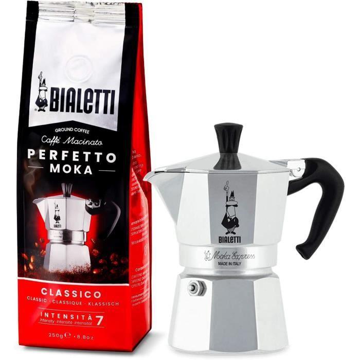 Cafetière Italienne, Aluminium, Argent, 2 Tasses + Perfetto Moka Café Moulu Classico (Classic) Torréfaction Media 250 gr[131]