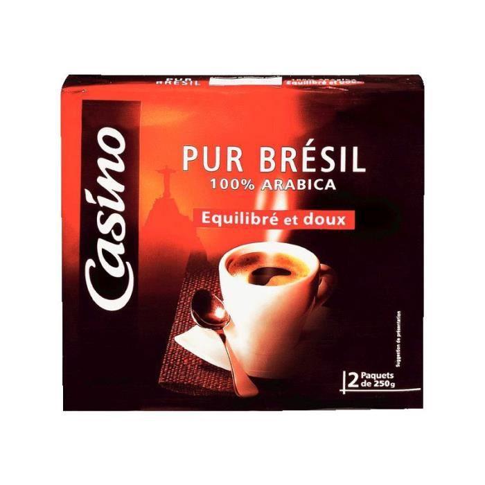 Lot de 2 Cafés moulus - Pur Brésil - 100% arabica - 250 g