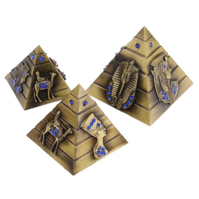 3 Pièces Modèle Pyramides d'Égypte Figurine Objet de Décoration Maison Souvenir - L M S Bronze