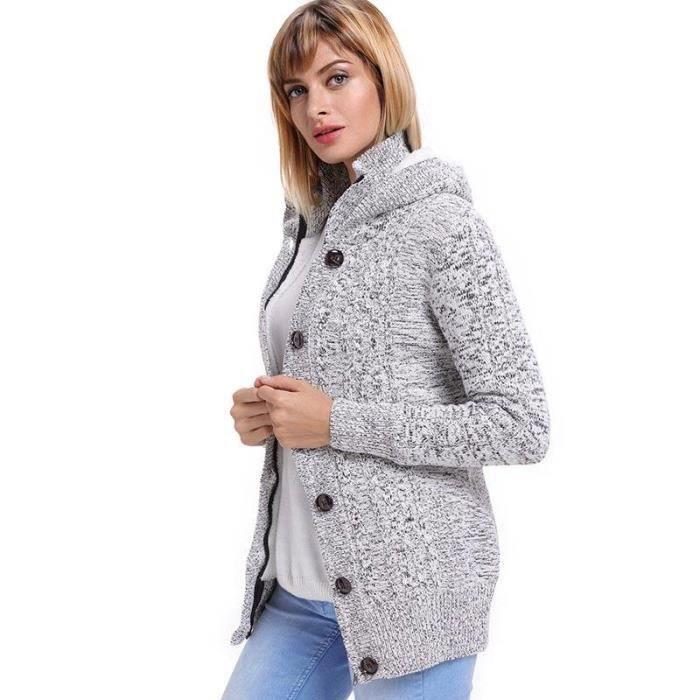 Blouson Automne-Hiver Femme À Capuche Chandail Cardigan Femme Tricot Chaud Sweater Femme Hiver Bouton+Zippée