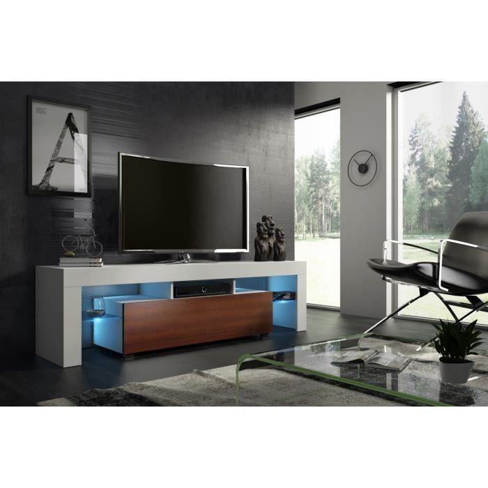 Meuble tv 160 cm blanc mat et noyer MDF avec led